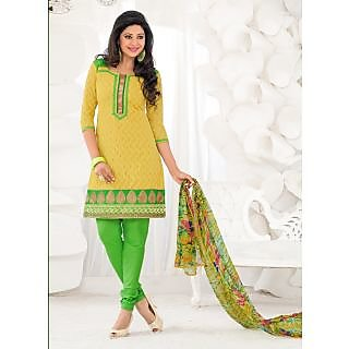 Swaron Green Dupion Silk Lace Salwar Suit Dress Material (Unstitched)