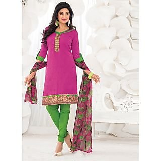Swaron Khaki And Brown Dupion Silk Lace Salwar Suit Dress Material