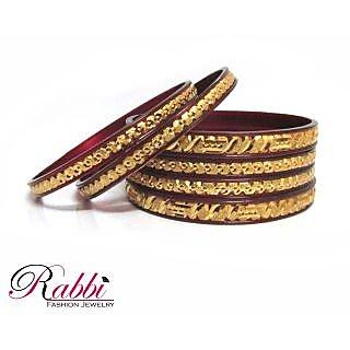 Rabbi Combi plasto Gold Plated Maroon 6 pc indian bangles set ethnic Fashion 2.2
