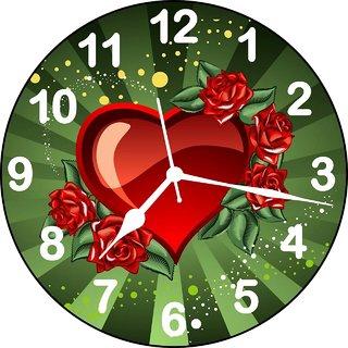 ske 3D beautiful hearth and rose wall clock