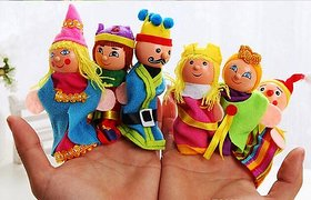 Finger Puppets Pretty Unique Wooden King, Queen Family Education Toys 6 pcs.