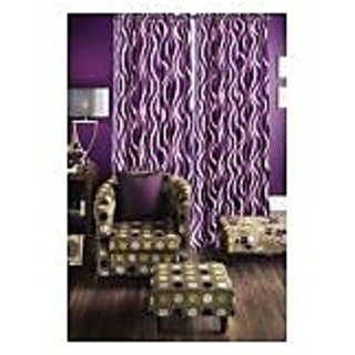 Home Passion Set of 2 Elegant Wave Purple Door(7X4)Curtain(HPC025)