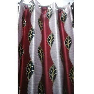 Home Passion Wave Leaf Red/Maroon Door(7X4)curtain(HPC035)