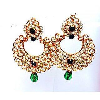 Green Stone Ramleela design Jhumki Earring