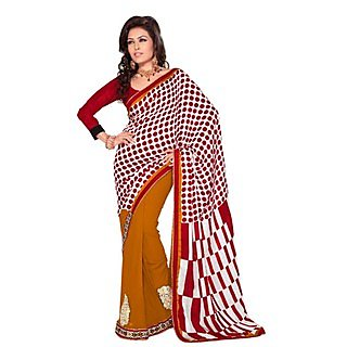 Pleasing First Loot Embroidered Faux Georgette Saree