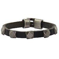 Jstarmart Square Black Leather  Wrist Band JSMFHWB0153