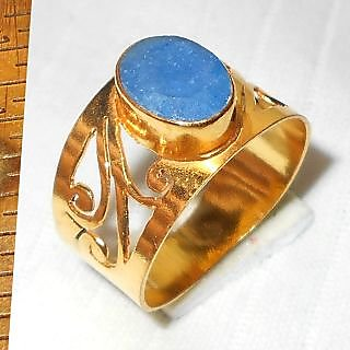 Costum Fashion Gold plated Brass Ring with sapphire corundum gemstone.ANRY992F