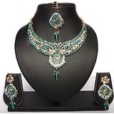 Turquoise Wedding Kundan Cz Gold Tone Necklace Set