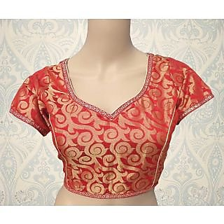 Red Brocade Readymade Designer Blouse