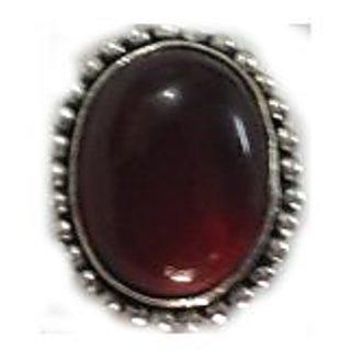 German Silver Cut Stone Rings Garnet Gemstone Ring Size 16mm