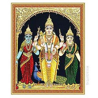 Murugan With Valli Amp Devasena Tanjore Painting Best Deals