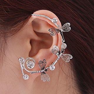 Unique Elegant Rhinestone Silver Hollow Butterfly Ear Cuff Earrings