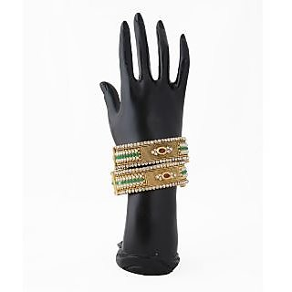 Gold plated kada elegant design bangle with enamel work to add in more beauty.
