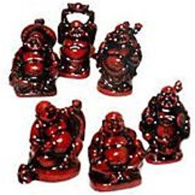 Laughing Buddha --set of 6 buddha -(Cherry Colour)-Prosperity,Feng Shui