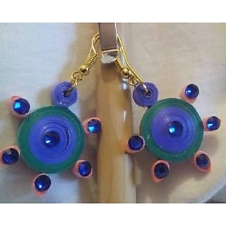 Beautiful Quilling Earring Green And Blue