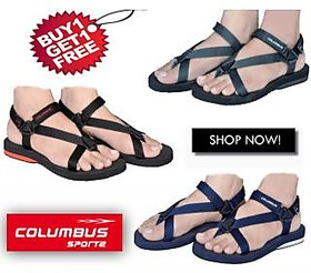 Columbus Mens Black Velcro Sandals