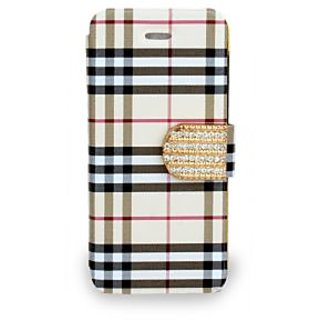 Then&There Check Print Flip With Rhinestone Clip For Apple Iphone 5s