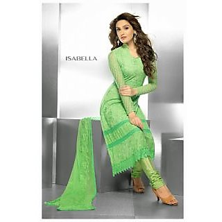 Embroided Green Dress Material (Unstitched)