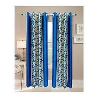 FabBIg Superior kolaveri aqua blue polyster curtain (set of 2)