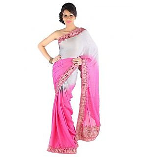 Suchi Fashion Pink and Grey Embroidery Cut Work Border Diamond Work Self Print Satin Chiffon Saree