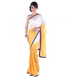 Suchi Fashion Yellow and White Moti and Diamond Work Chiffon Party Wear Saree