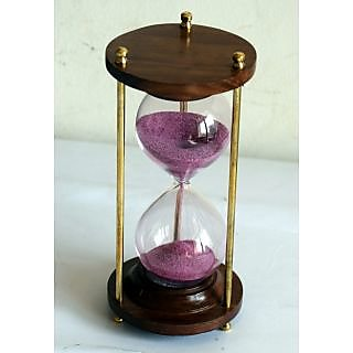 Nautical Marine  Maritime Wood Sand Timer With Pink Sand