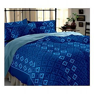 Home Ecstasy Blue Geometric Double Bed Sheet Set
