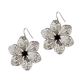 Silver Flower Artificial Earrings