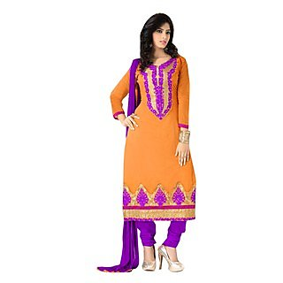 Fabdeal Orange Colored Chanderi Cotton Embroidered Dress Material