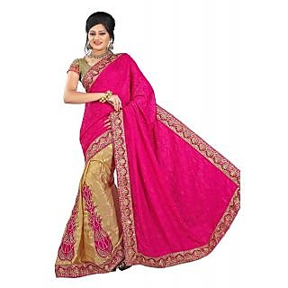 Self Jacquard In Half N Half Style Sarees Pink And Brown