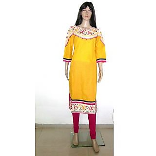 Beautiful Pure Cotton Designer Wear Kurti For All Occastions Yellow Kurti