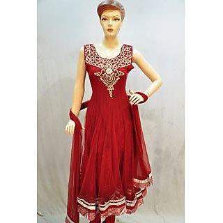 Ladies Beautiful Matka Silk Anarkali Semi-Stitched Suit Red