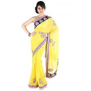 Suchi Fashion Yellow Booti Work and Heavy Velvet and Stone Work Border Chiffon Designer Saree