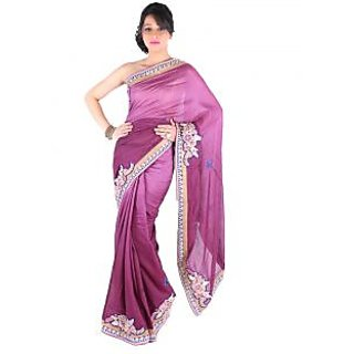 Suchi Fashion Purple Embroidery Booti Cotton Jute Saree