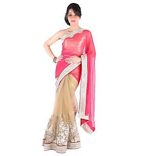 Suchi Fashion Red and Golden Heavy Embroidery and Diamond Work Net and Chiffon Saree