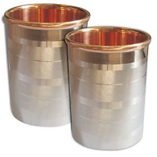 AsiaCraft Handmade Stainless Steel Copper Glass Tumblers, Set Of 2