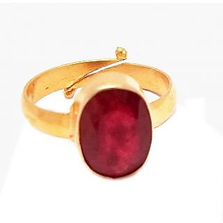 gold plated adjustable ring studded with natural Ruby OF 5.25 carat