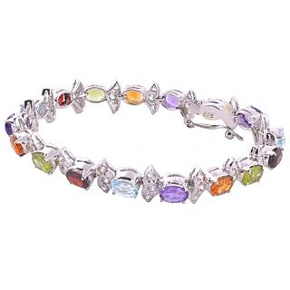 925 Sterling Silver & Natural Semi-Precious Gems Stones  With C Z Bracelet