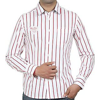 White with red lining gents casual shirt