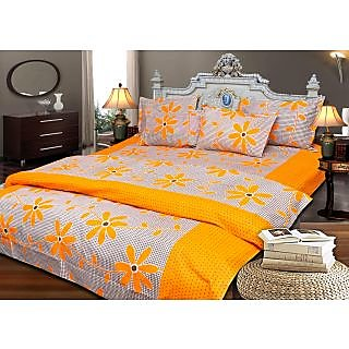 JBG Home Store 100 Cotton 400 Thread Count Multicolor Double Bedsheet With 2 Pillow Covers (Set of 1)