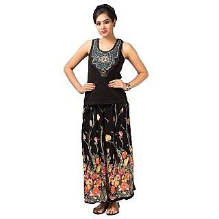 Pistaa'S Black Floral Multi Colour Woman Skirt