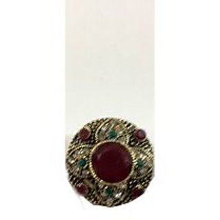 Traditional Ruby Ring with CZ Designs Ring Size 14mm
