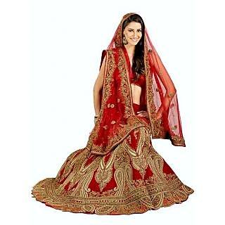 Wedding Wear Synthetic Net Bridal Lehanga Red