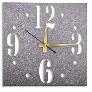 Silver Finish Antique Square Shaped Designer Wall Clock in Steel