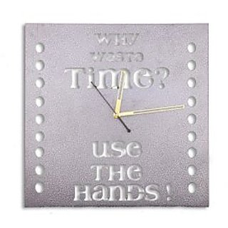 Why Waste Time? Conceptual Themed Wall Clock in Steel
