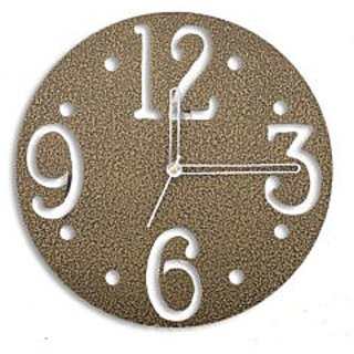 Brass Finish Round Shaped Small Size Conceptual Wall Clock in Steel