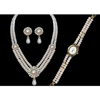 pearl set with watch
