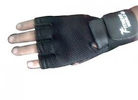 Gym Gloves Along With Wrist Support  Padded Net Support