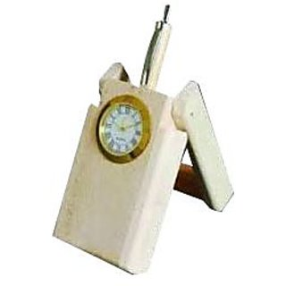 Wooden Folding Pen Stand With Analog Clock