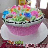 Colorful Flowers In A Basket Cake-Delhi NCR